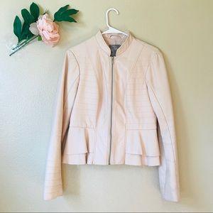 Guess- Blush Peplum Faux Leather Jacket